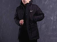 Весенняя черная мужская парка (куртка) Nike, фото 1