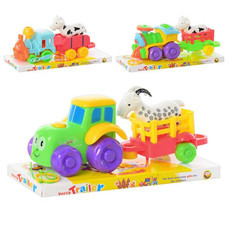 Іграшкові поїзди та тактори 626-222-9-223-7 3 види, з причепом, тварина, в блістері, 25,5-11-8 см