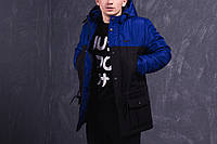 Весенняя черно-синяя мужская парка (куртка) Nike, фото 1