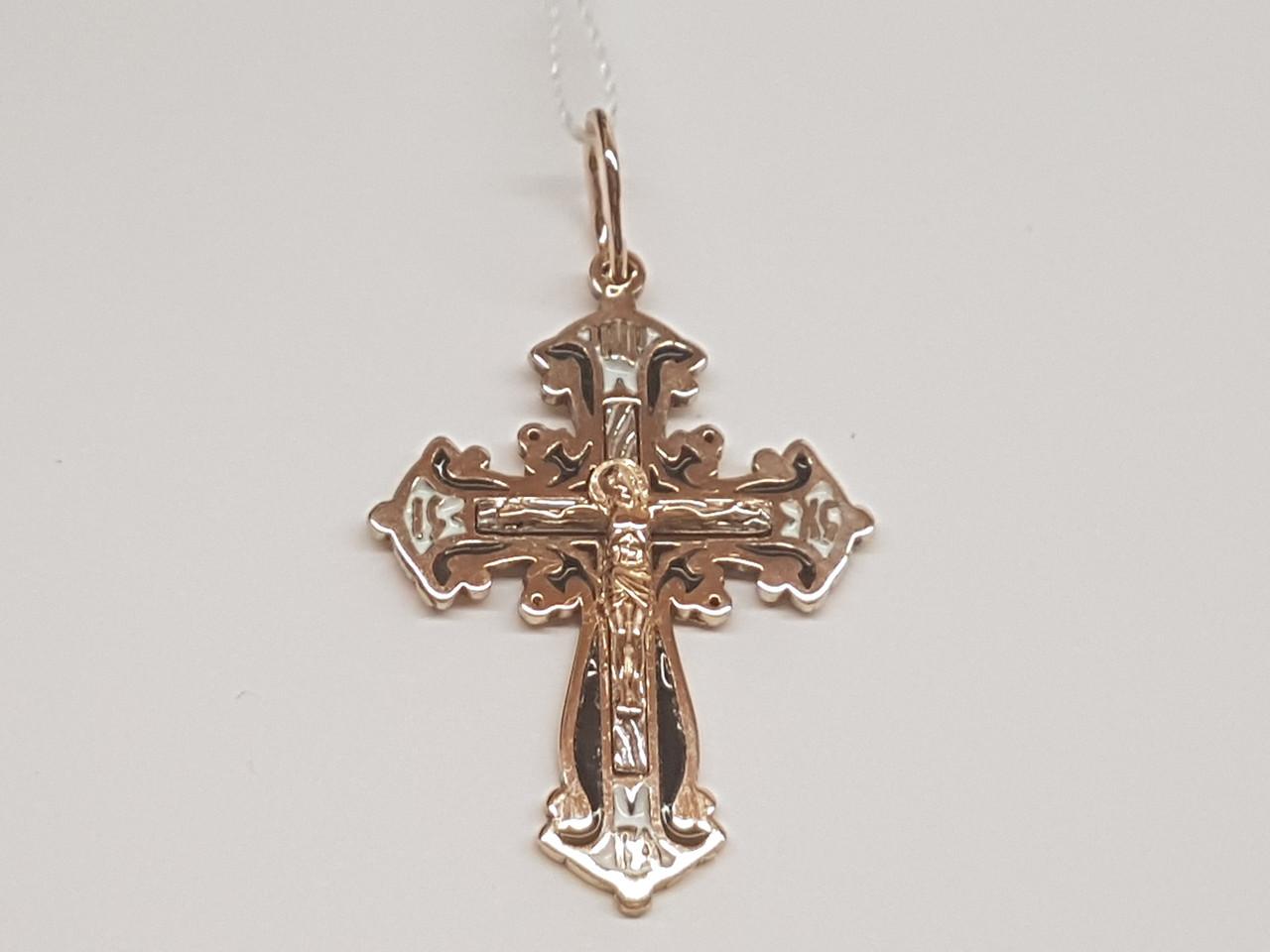 Золотой крестик Распятие Христа с эмалью. Артикул 11376-МЭ