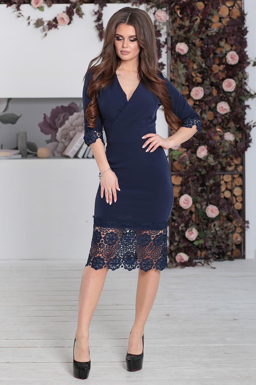 Нарядное Платье с кружевом Лорита темно-синее - LILIT ODESSA - женская  одежда - опт e17feda146b
