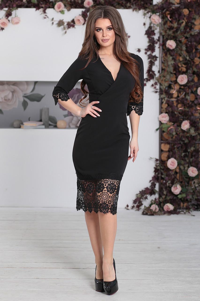 Нарядное Платье с кружевом Лорита черное