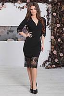 Нарядное Платье с кружевом Лорита черное, фото 1