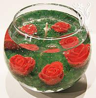Свеча шар цветы