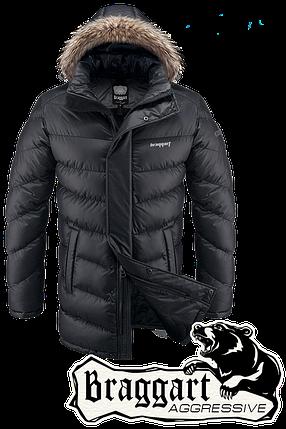 Мужская удлиненная черная зимняя парка Braggart арт. 3877, фото 2