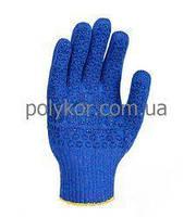 Перчатки 646 трикотажные синие с ПВХ Универсал Долони