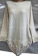 Свитер с кружевным низом кашемировый женский батальный, фото 1
