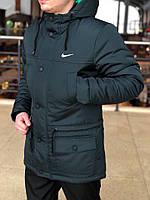 Весенняя мужская черно-серая парка (куртка) Nike CUPE, есть опт