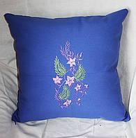 Подушка декоративная  из льняной ткани с вышивкой  на кресло 13