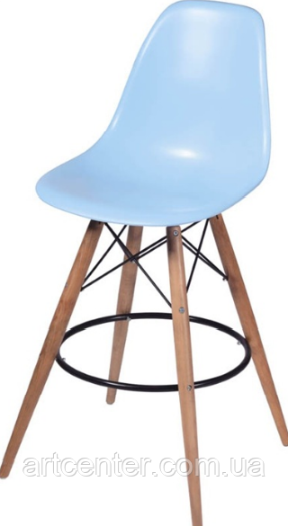 Стул визажиста на деревянных ножках, барный стул, стул для администратора (Тауэр Вуд голубой)