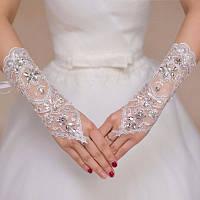 Симпатичные женские митенки(перчатки без пальцев) со стразами и машинной вышивкой