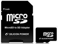 Карта памяти microSDHC 8Gb SiliconPower (class 4) + Adapter SD
