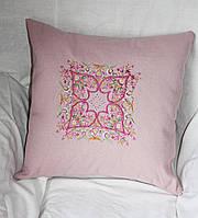 Подушка декоративная  из льняной ткани с вышивкой  на кресло 15