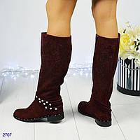 Модные сапожки женские с декором темного-марсала