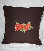 Сувенирная подушка из льняной ткани с вышивкой с маками на диван  16