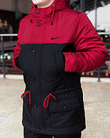 Весенняя мужская черно-красная парка (куртка) Nike CUPE, есть опт, фото 1