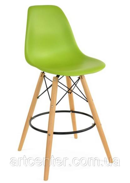 Стул визажиста высокий, барный стул с пластиковым сиденьем, стул для администратора (Тауэр Вуд зеленый)