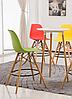 Стул визажиста высокий, барный стул с пластиковым сиденьем, стул для администратора (Тауэр Вуд зеленый), фото 2