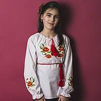 """Детская сорочка вышиванка для девочки """"МАК-2"""""""