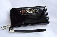 Кошелек женский натуральная кожа Moschino черного цвета