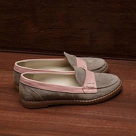 80151| Женские мокасины на плоской подошве. Серые с розовым из натуральной замши
