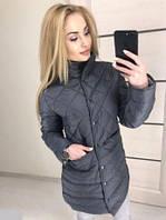 Новинки весна 2018 удлиненная женская стеганная куртка черная 42-44 44-46 , фото 1