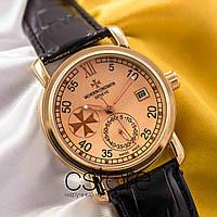 Мужские наручные механические часы Vacheron Constantin patrimony gold gold (05007)