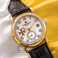 Мужские наручные механические часы Vacheron Constantin patrimony gold white (05008)