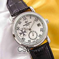 Мужские наручные механические часы Vacheron Constantin patrimony silver white (05009)