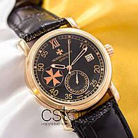 Мужские наручные механические часы Vacheron Constantin patrimony gold black (05011)