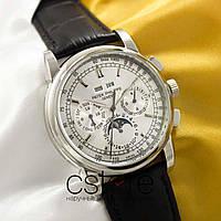 Мужские наручные механические часы Patek Philippe perpetual calendar silver white (05030)
