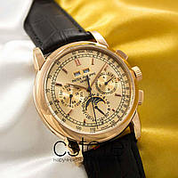 Мужские наручные механические часы Patek Philippe perpetual calendar gold gold (05033)