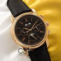 Мужские наручные механические часы Patek Philippe perpetual calendar 3940 gold black (05035), фото 1