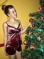 Пижама с шортиками велюровая. Материал велюр - стрейч мраморный. Размеры: S, M, L, фото 1