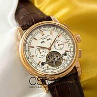 Мужские наручные часы Patek Philippe geneve perpetual calendar gold white (05056), фото 1