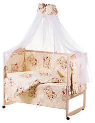 Детское постельное белье Qvatro Gold с рисунком 100% хлопок, бежевое мишка-мальчик и мишка-девочка с