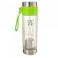 Бутылка-термос 368.3 стеклянная с ситечком для заварки зеленая