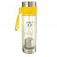 Бутылка-термос 368.2 стеклянная с ситечком для заварки желтая