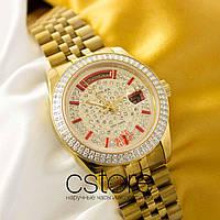 Женские наручные копия механические часы Rolex date just gold white (05069)
