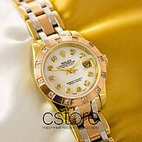 Женские наручные копия механические часы Rolex perpetual date just gold white (05067), фото 1