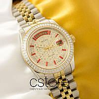 Женские наручные копия механические часы Rolex date just siver gold (05068), фото 1