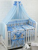 """Детская постель ТМ «ASIK» ( 8 элементов) """"Мишка с цветочком"""" голубого цвета №171"""