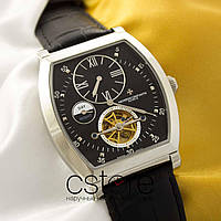Мужские наручные часы Vacheron Constantin geneve tourbillon silver black (05076)