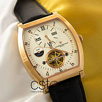 Мужские наручные часы Vacheron Constantin geneve tourbillon gold white (05078)