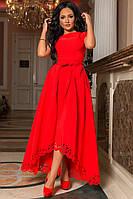 Красное платье с динной юбкой