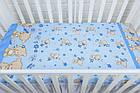 Простынь в детскую кроватку «Мишка с цветочком» голубого цвета (120*60), фото 2