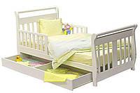 Детская кровать с ящиком для белья из натурального дерева
