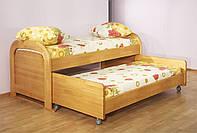 Детская выдвижная кровать из натурального дерева