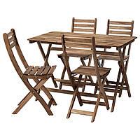 Cтол садовый + 4 стула IKEA ASKHOLMEN