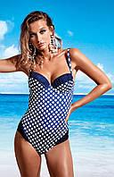 Сплошной женский купальник в горошек Miss Marea 18447 50 Синий MissMarea 18447